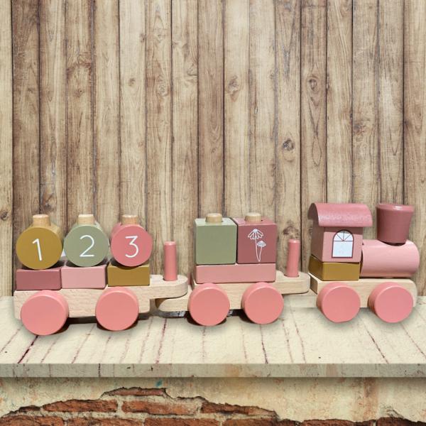 train en bois rose little dutch